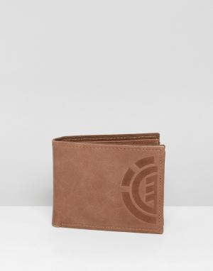 Element Коричневый кожаный кошелек Elite. Цвет: коричневый