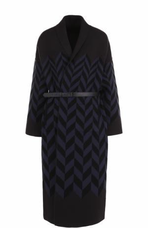 Удлиненный кашемировый кардиган с кожаным поясом Loro Piana. Цвет: темно-синий