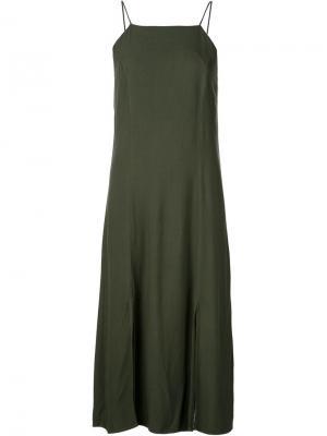 Длинное платье-комбинация 321. Цвет: зелёный