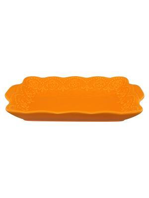 Тарелочка под масло Оранжевая с узором Elan Gallery. Цвет: оранжевый