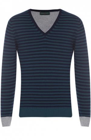 Пуловер из смеси шерсти и кашемира с контрастной отделкой Daniele Fiesoli. Цвет: бирюзовый