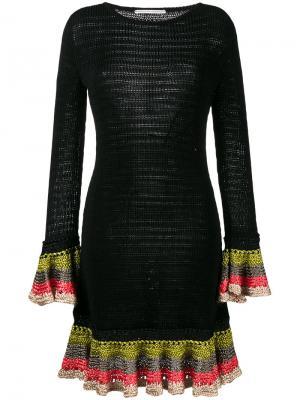 Вязаное платье с оборками на манжетах Marco De Vincenzo. Цвет: чёрный