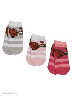 Носки - 3 пары Гамма. Цвет: серый, розовый