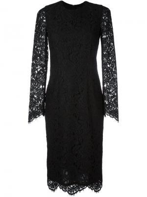 Кружевное платье с длинными рукавами Marco Bologna. Цвет: чёрный