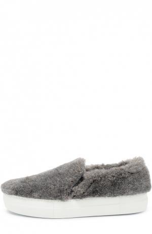 Слипоны Fur с меховой отделкой Joshua Sanders. Цвет: серый