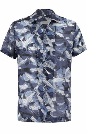 Хлопковая рубашка с короткими рукавами Cortigiani. Цвет: темно-синий