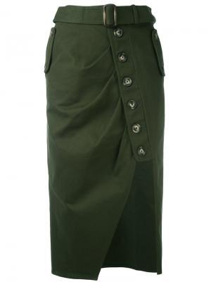 Асимметричная юбка на пуговицах Self-Portrait. Цвет: зелёный