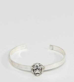 ASOS Серебристый браслет со львом PLUS. Цвет: серебряный