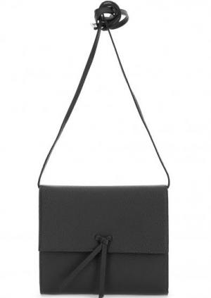 Кожаный клатч с откидным клапаном Abro. Цвет: черный