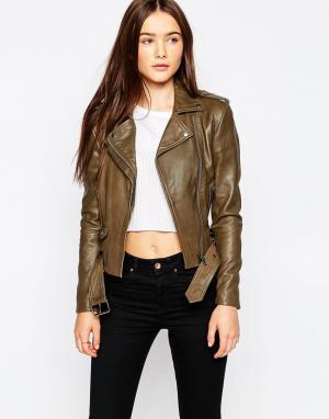 Muubaa Байкерская кожаная куртка Reina. Цвет: коричневый