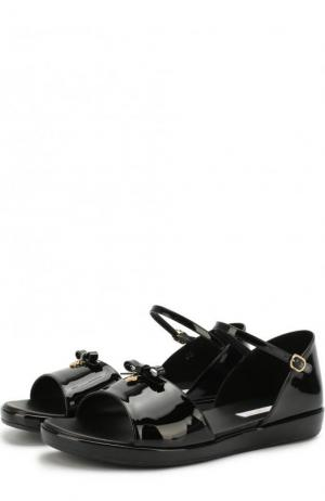 Лаковые сандалии с бантом Dolce & Gabbana. Цвет: черный