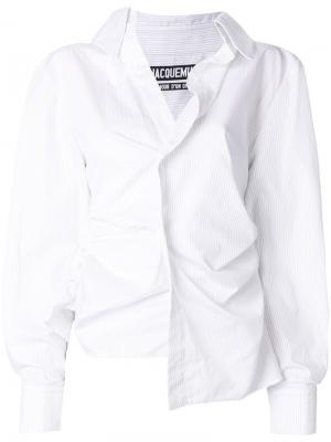Асимметричная рубашка Jacquemus. Цвет: белый