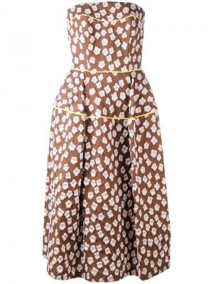 Patterned bandeau dress Talbot Runhof. Цвет: коричневый