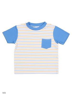 Трикотажная футболка Cutie Bear. Цвет: синий, белый, оранжевый