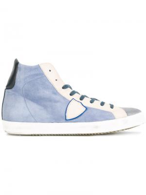 Хайтопы на шнуровке Philippe Model. Цвет: синий