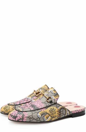 Сабо Princetown из текстиля с принтом Gucci. Цвет: разноцветный