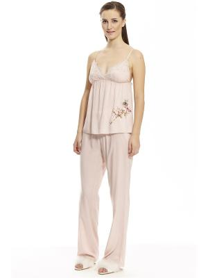 Пижама с брюками тройка RELAX MODE. Цвет: бледно-розовый