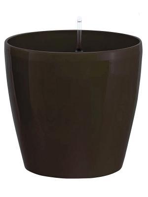 GREEN APPLE Круглый горшок с автополивом 18*18*16 венге. Цвет: коричневый