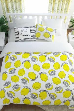 Постельное белье семейное Лимонный фреш Сирень. Цвет: белый, желтый