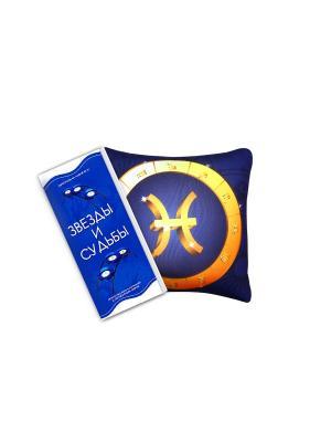 Набор: игрушка-подушка 35х35 см Знак зодиака Рыбы+книга Звезды и судьбы PROFFI. Цвет: темно-синий, желтый, оранжевый