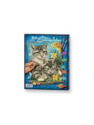 Кошка с котенком, 24х30 см Schipper. Цвет: серый, голубой, желтый