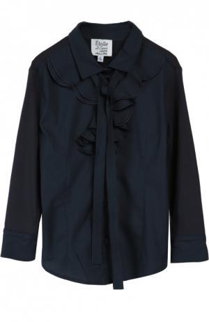 Хлопковая блуза с бантом Aletta. Цвет: синий
