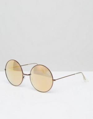 Quay Australia Круглые солнцезащитные очки с зеркальными стеклами. Цвет: медный
