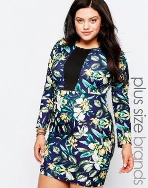 Praslin Платье-футляр с цветочным принтом и контрастной вставкой Plus. Цвет: мульти