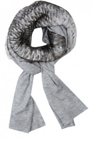 Кашемировый шарф с отделкой из меха кролика Franco Ferrari. Цвет: серый