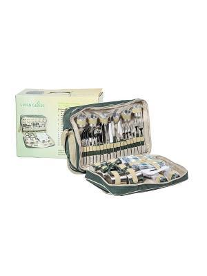 Набор для пикника в коробке на 6 персон GreenGlade. Цвет: зеленый, серый
