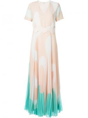 Плиссированное платье в принт Issa. Цвет: розовый и фиолетовый