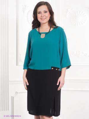 Платье VERDA. Цвет: зеленый, черный