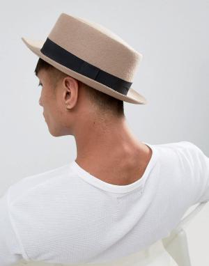 ASOS Белая шляпа с узкими полями. Цвет: бежевый