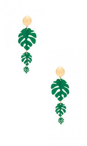 Серьги Ettika. Цвет: зеленый