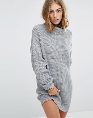 Lovers + Friends Вязаное платье‑джемпер с отворачивающимся воротником. Цвет: серый