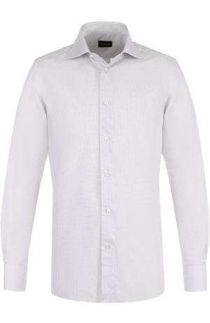 Хлопковая сорочка с воротником кент Ermenegildo Zegna. Цвет: серый