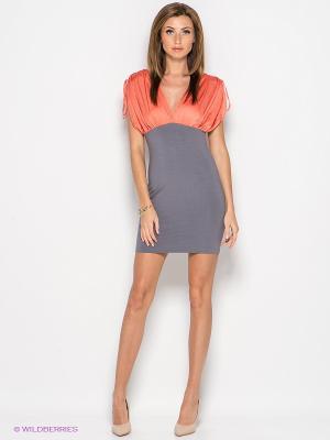 Платье Xarizmas. Цвет: коралловый, темно-серый