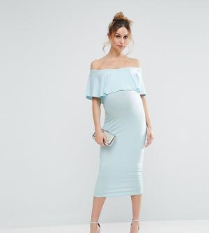 ASOS Maternity Платье-футляр миди для беременных с оборкой TALL. Цвет: зеленый