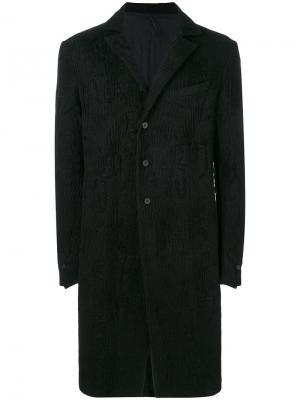 Фактурное однобортное пальто Masnada. Цвет: чёрный