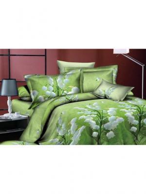 Комплект постельного белья 2сп, поплин BegAl. Цвет: зеленый
