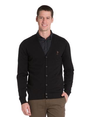 Кардиган U.S. Polo Assn.. Цвет: черный