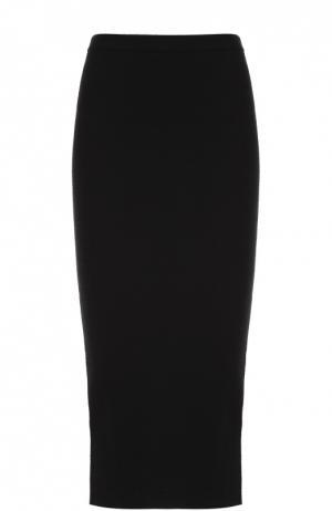 Вязаная юбка-карандаш с декоративной молнией Alice + Olivia. Цвет: черный