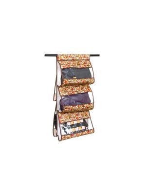 Кофр подвесной для сумок Совы на ветках бежевом EL CASA. Цвет: бежевый, коричневый, красный