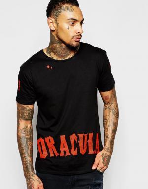 Born Idol Футболка с принтом Bone Halloween Dracula. Цвет: черный