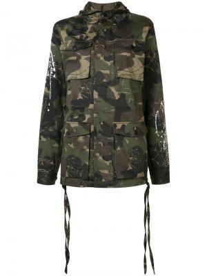 Камуфляжное пальто с капюшоном Haculla. Цвет: зелёный