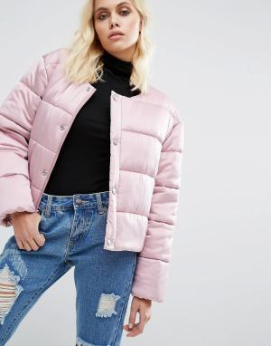 Puffa Дутая оversize-куртка из премиум-атласа без воротника. Цвет: розовый