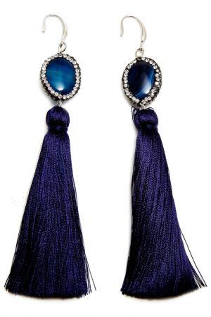 Серьги Asavi Jewel. Цвет: серебряный, синий, белый