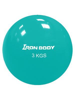 Медбол, 3 кг Iron Body. Цвет: бирюзовый
