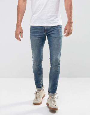ASOS Синие выбеленные джинсы скинни плотностью 12,5 унц. Цвет: синий
