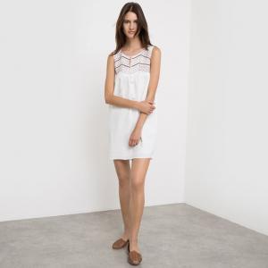 Платье без рукавов, с вышивкой и завязками SUNCOO. Цвет: экрю/золотистый